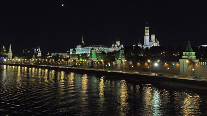 Moscow Kremlin night extreme long timelapse
