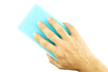 Hand hold blue sponge cleaning