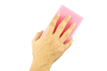Hand hold pink sponge cleaning