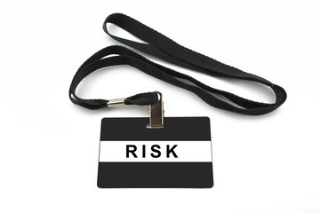 risk badge isolated on white background