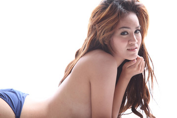 Asian model topless sexy pose