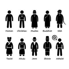 Religion of People in the World Cliparts