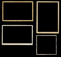 set of vintage photographic frames, knocked out on black backgro