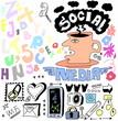 Hand drawn set of social media sign and symbol doodles elements