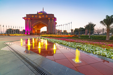Arabic style gate light up at night in Abu Dhabi, UAE