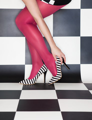 Fashion concept woman wearing high heels stilettos