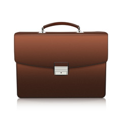 Detailed brown briefcase with leather texture