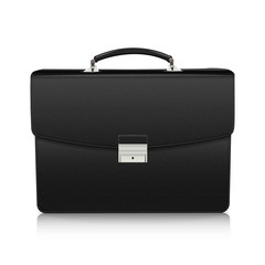 Detailed black briefcase with leather texture
