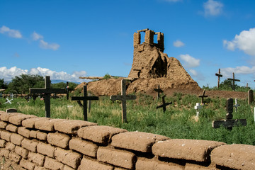 Old belltower from San Geronimo Chapel in Taos Pueblo, USA
