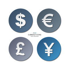 Vector set of currency icons, dollar, euro, pound, yen.