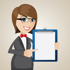 cartoon businesswoman with presentation blank board