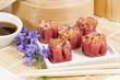 Shumai - Chinese pork and shrimp beetroot steamed dumplings