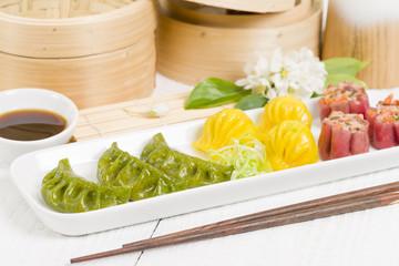 Dim Sum - Chinese colourful steamed dumplings.