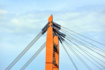 Bridge pylon with steel cable in Odessa, Ukraine