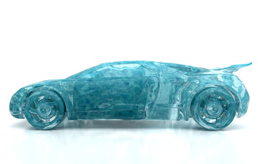 Auto d'acqua, splash, trasporto ecologico, idrogeno