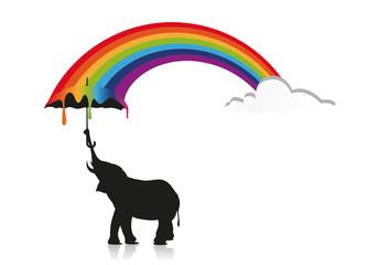 Elefant mit Regenschirm