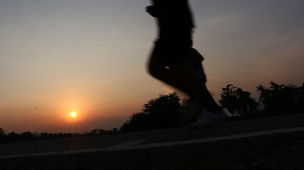 Running in The park,Silhouette