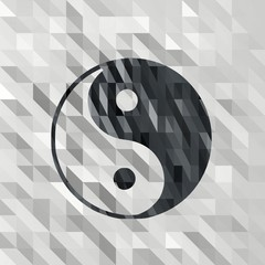 low poly ying yang sign