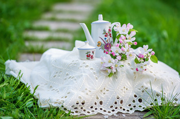 Tea time in the spring garden with tree blossom