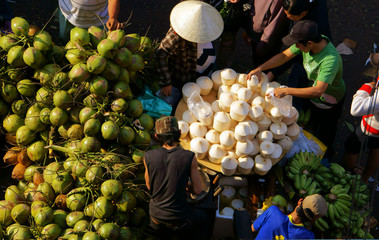 coconut at outdoor farmers market