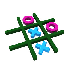 Tic tac toe game, 3d illustration