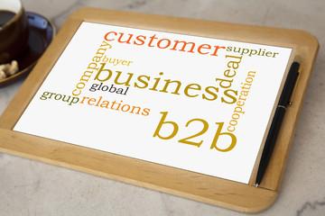 blackboard with b2b business word cloud