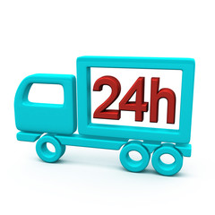 24h delivery truck icon, 3d