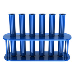 Blue laboratory test tubes, 3d