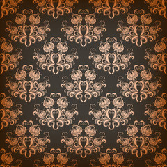 Vector damask seamless on gray background
