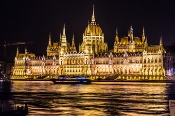 Budapest Parliament building in Hungary at twilight.