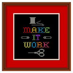 Embroidery, Make It Work cross stitch sewing fashion, wood frame