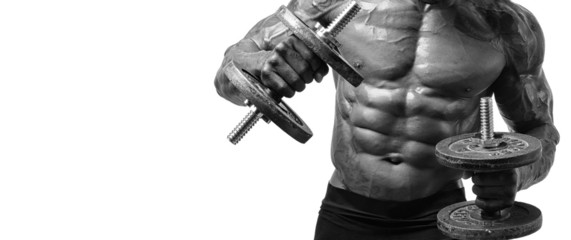 Bodybuilder training with heavy dumbbell, perfect body