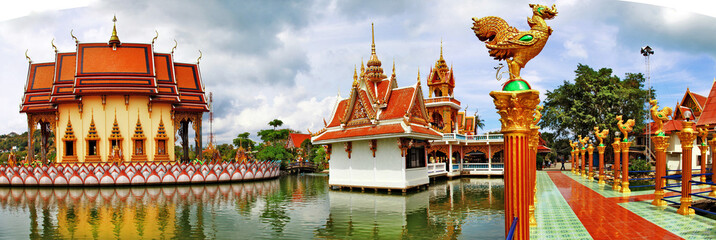 Buddhist pagoda, panorama of Wat Plai Laem on Samui island. Thai
