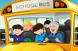 Detaily fotografie Kids having fun in a school bus