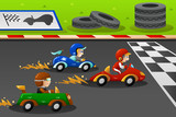Fototapety Kids in a car racing
