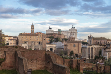 Rome -  View from the roman forum on the historical city