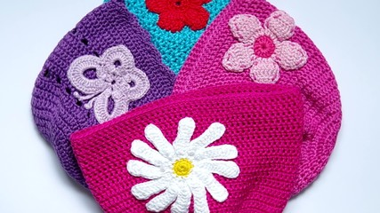 Girl's colorful crocheted hats