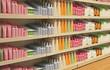 Leinwanddruck Bild - Retail store cosmetic shelves