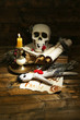 Conceptual photo of love magic. Composition with skull, voodoo