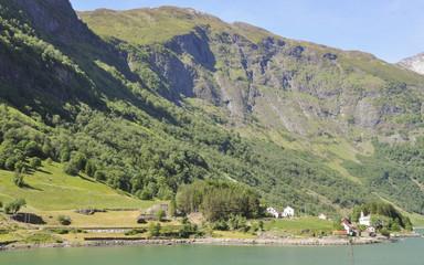 Naeroyfjord, Laerdal, Dorf, Schiffsreise, Sommer, Norwegen