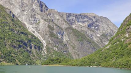 Naeroyfjord, Fjordfahrt, Fähre, Sommer, Norwegen