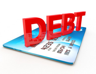 debt on a credit card cut out on white