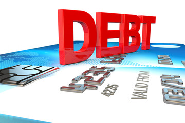 big 3d word saying debt on a credit card