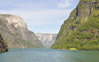 Naeroyfjord, Fjord, Laerdal, Schiffsreise, Sommer, Norwegen