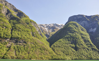 Naeroyfjord, Fjord, Laerdal, Mittelgebirge, Sommer, Norwegen