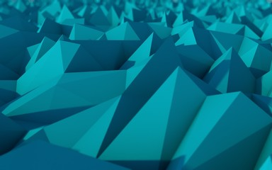 Abstract Blue Low Poly 3d Background with Depth of Field Effect