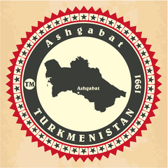 Vintage label-sticker cards of Turkmenistan.