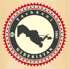 Vintage label-sticker cards of Uzbekistan
