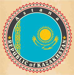 Vintage label cards of  Kazakhstan flag.