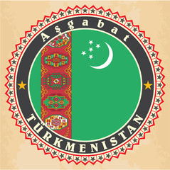Vintage label cards of  Turkmenistan flag.